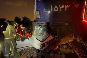 برخورد هولناک قطار با پراید در شهر ری+ عکس