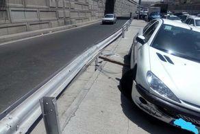 تصادف شدید پژو206 در بزرگراه امام علی ( ع )