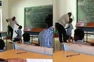 ضرب و شتم دانش آموز توسط معلم در کلاس