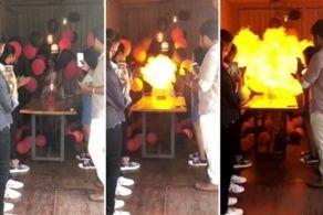 آتش گرفتن دختر جوان وسط مراسم تولدش! +عکس